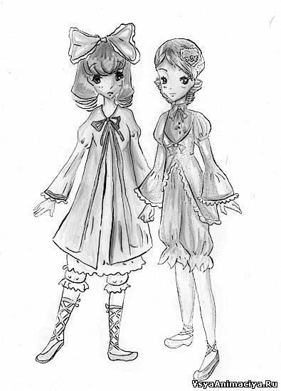 Рисунки аниме парень с девушкой